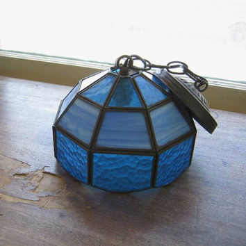 Leaded Blue Stained Glass Hanging Lamp Shade; Tiffany/Craftsman Style with Milky & Darker Blue Glass, for Repair/Repurpose/Parts