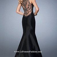 Black Long Sheer Back Mermaid Style Prom Dress by Gigi