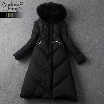 autumn winter runway designer womans outwear black army green long down coat fur hat a-line over knee high quality down coat