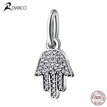 Authentic 925 Sterling Silver Bead Hamsa Hand Dangle Crystal Pendants Beads Fit Original Pandora Charm Bracelet & Bangle Jewelry