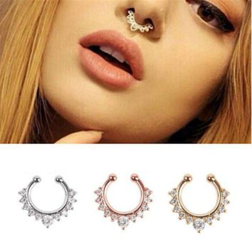 ac DCCKO2Q Titanium Piercing Nombril Luxury Rudder Nose Stud Clip Fake Septum Piercing False nose ring earring chain kit Bisuteria Mujer