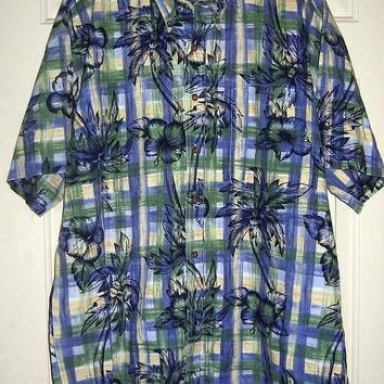 Mens Ralph Lauren Hawaiian Shirt vintage 80s L XL Chaps Sportsman Camp Plaid Palm Tree