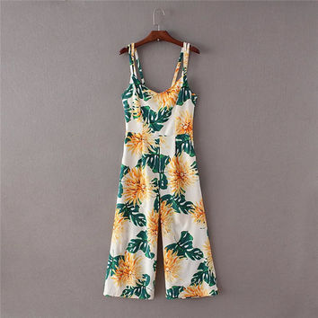 Summer Backless Women's Fashion Print Spaghetti Strap Jumpsuit [4905585796]
