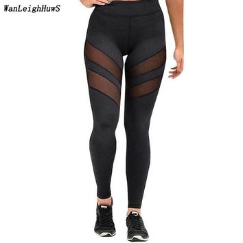 2017 Europea New fashion Women plus size Leggings For Lady quick-drying Hollow perspective workout mesh leggings female sporting