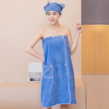 XC USHIO Magic Soft Wearable Woman Bath Towel With Hair Cap Fashion Design Swimming Beach Towel GF Gift Toallas Microfiber
