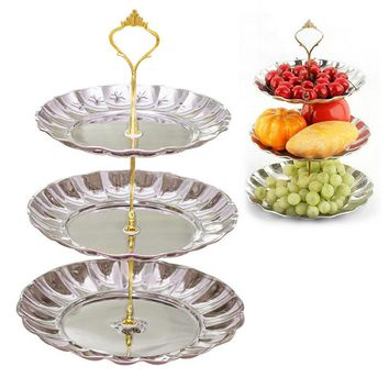 Cake Stand 3 Tiers Home Hotel Wedding Dessert Party Cupcake Fruits Plates Rack Stainless Steel Cake Tools Golden Silver