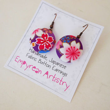Japanese Button Earrings - Japanese Kimono Fabric - Fabric Earrings - Handmade Jewelry - Button Jewelry - Button Earrings - Colorful Designs