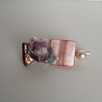 Shells, Crystals, Amethyst and Pearls Brooch - Pink and Purple Brooch