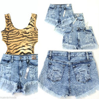 High Waist Acid Wash Blue Destroyed Frayed Jean Shorts Sizes S-M-L & Plus Sizes