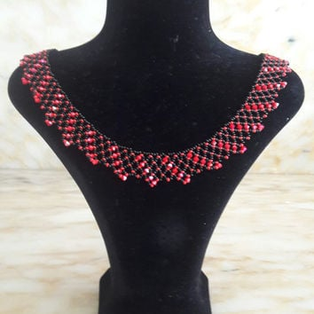 "Bead Crochet Rope Pattern - ""Red & Black"", Beaded Necklace Schema, Beaded Bracelet Pattern, Modern Jewelry, Luxury Necklace, Tutorial, Pdf"