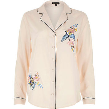 Pink embroidered bird pyjama shirt