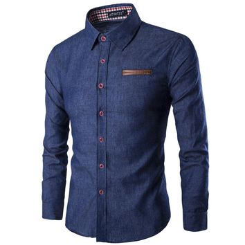 New Mens Jean Shirt  Cotton Slim Fit Brand Casual Denim Shirts Long Sleeve Male