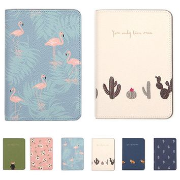Fresh Flower Animal Leather Passport Cover