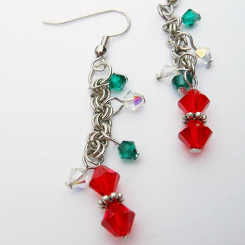 Swarovski Bicones and Chainmaille Earrings
