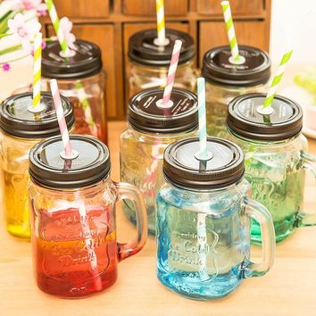 Manson Cup Cool Summer Gradient Color Cold Drinking Bottle Personality Juice Bottle with Straw