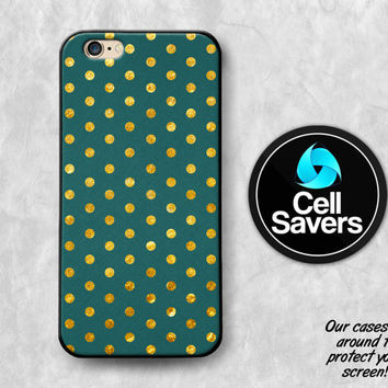 Gold Polka Dots iPhone 6s Case iPhone 6 Case iPhone 6 Plus iPhone 6s + iPhone 5c iPhone 5 iPhone SE Gold Teal Polka Dot Pattern Cute Tumblr
