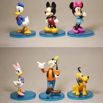 Disney Mickey Mouse Minnie 4pcs/set 6-8cm Action Figure Posture Anime Decoration Collection Figurine Toy model for children gift
