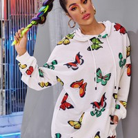 Allover Butterfly Print Kangaroo Pocket Hoodie