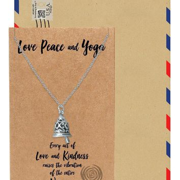 Matilda 17050 in YOGA AND NAMASTE Necklace, Yoga Jewelry, Gift for Women with Greeting Card