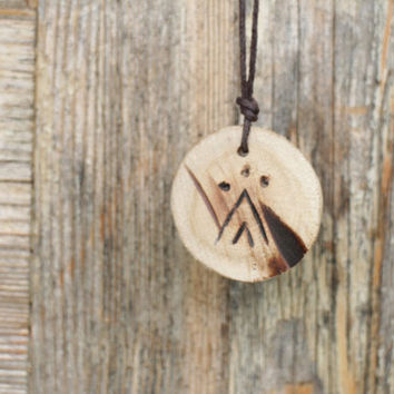Tribal Necklace Wood pendant Wood necklace Natural necklace  Tribal Pendant Wooden necklace Cherry tree wood pendant Wood jewelry