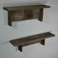 "Natural recycled wood wall shelves 18"" wide and 16"" wide"