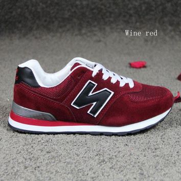 ONETOW new balance running shoes leisure shoes gump sneakers lovers shoes n words wine red