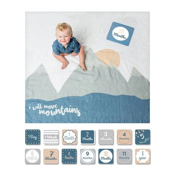 I will Move Mountains - Baby's First Year Milestone Swaddle & Cards