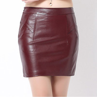 2016 Classical New Fashion Women 100% Real Sheepskin Genuine Leather Skirt Sexy Natural Waist Slim Hip Mini Pencil Skirts Black