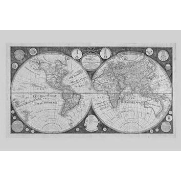 World Map 1799 poster Metal Sign Wall Art 8in x 12in Black and White