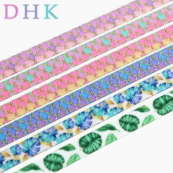 DHK 3/8'' Free shipping mermaid fish scale leaf printed grosgrain ribbon Accessory hairbow headwear DIY decoration 9mm S968