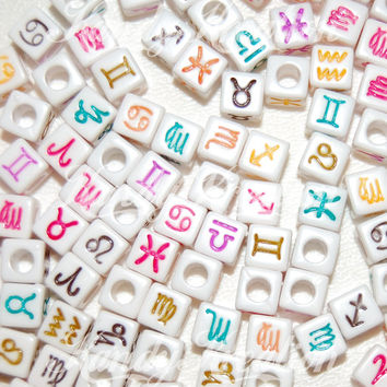 100 7mm ZODIAC pony beads white colored For astrology Horoscope Bracelets Kandi Raver Kandy Kid Craft cubes square Loom Bands rainbow Signs