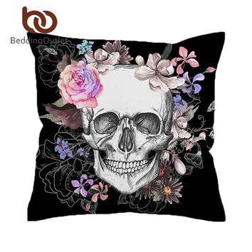BeddingOutlet Sugar Skull Cushion Cover Floral Rose Pillow Cover Black Gothic Decorative Pillowcase Microfiber Bedding 45cmx45cm
