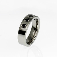 Black spinel ring, palladium, men's wedding band, spinel wedding ring, unique, men's gemstone band, man gothic band, wide ring, gold