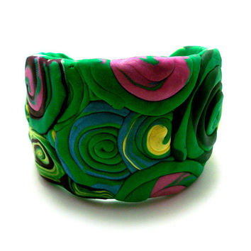 Polymer Clay Cuff In Swirls of Green FREE USA by moonknightjewels