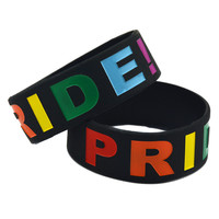 "50PCS/Lot Gay Pride 1"" Wide Debossed Raibow Colour Silicon Wristband Bracelet"