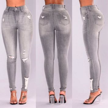 2018 Jeans Women Basic Classic High Waist Skinny Pencil gray Denim Pants spliced summer Zipper Elastic Stretch washed Jeans
