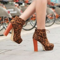 Discount China  Refinement Leopard Lace Up Thick Sole Ankle Boot YMR-8-5BR [YMR-8-5] - US$16.93 : Fashion Ladies Shoes&Bags Wholesale Online at Egogog.com