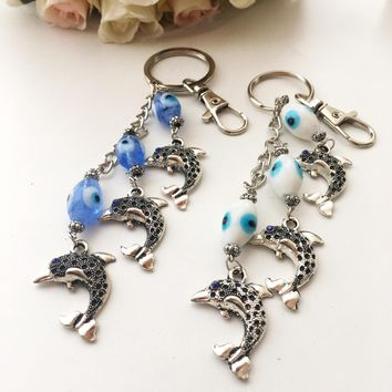 Evil eye keychain, dolphin keychain, glass evil eye beads