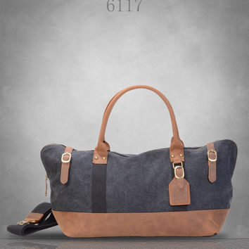 New Genuine Leather and Canvas Messenger Bag Duffel gym weekend Tote Large travel business casual school holdall birthday gift