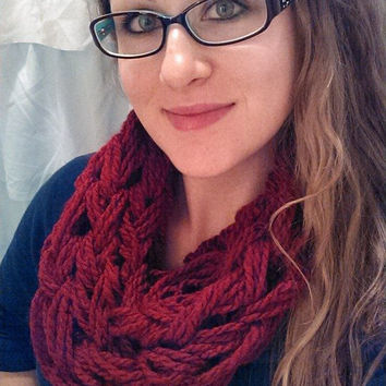 Arm Knit Chunky Infinity Scarf, Infinity Cowl.  Medium weight fall fashion accessory! Seen in crimson, available in MANY other colors!!