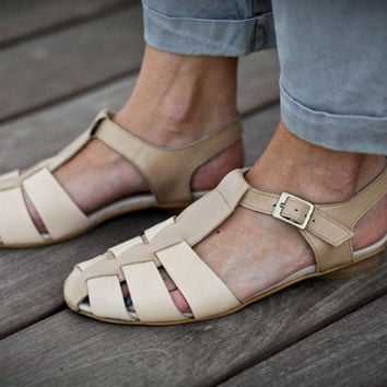 10% Sale, Annie, Nude Leather Sandals, Flat Summer Shoes, Straps Sandals