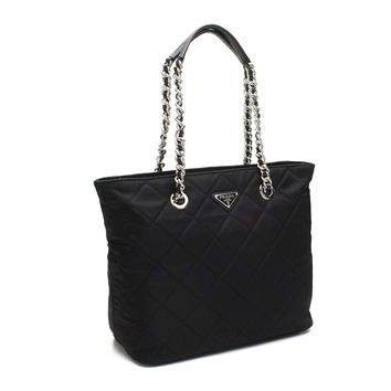 Prada Women's Black Quilted Tessuto Chain Shoulder Tote Bag 1BG017