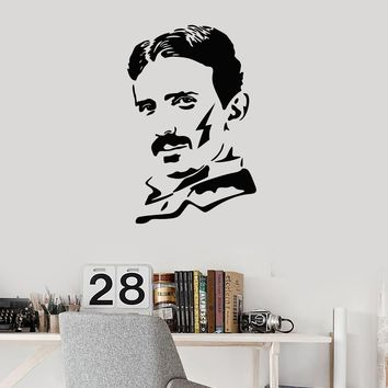 Vinyl Wall Decal Nicola Tesla Famous Scientist Science Lab Decor Art Stickers Mural (ig5380)