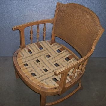 60s Vintage Drexel Rattan Back Club Chair