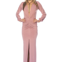 Deep V Formal Dress - Dusty Rose