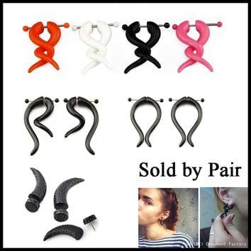Pair Acrylic Fake Cheater Twist Spiral Ear Taper Gauges Piercing Ear Expander Earring Tunnel Plugs Body Jewelry