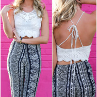 Hope Floats Crochet Halter Crop Top With Open Back