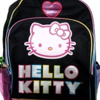 """Sanrio Hello Kitty Large Backpack 16"""" Black Color"""