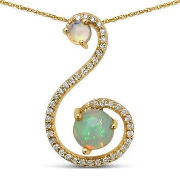 14K Yellow Gold Natural Ethiopian Cabochon Round Opals with Diamonds Accented Pendant Necklace
