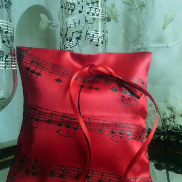 Hand painted Satin Red/ black ring bearer pillow Music theme Wedding March personalized wedding favor